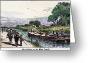 Erie Barge Canal Greeting Cards - GRAIN BARGE, 19th CENT Greeting Card by Granger