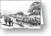 Erie Barge Canal Greeting Cards - GRAIN BARGE, 19th CENTURY Greeting Card by Granger