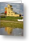 Canadian Prairie Landscape Greeting Cards - Grain Elevator in Balzac Alberta Greeting Card by Louise Heusinkveld