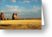 Elevators Greeting Cards - Grain Elevators Stand In A Prairie Greeting Card by Pete Ryan