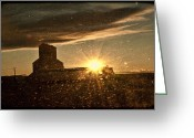 Lewistown Greeting Cards - Grainy Grain Elevator Greeting Card by Sheri Bartoszek