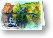 Pole Drawings Greeting Cards - Grammas Uh Gone Fishin Greeting Card by Carol Wisniewski