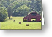 Bales Greeting Cards - Grampas Summer Barn Greeting Card by Jan Amiss Photography
