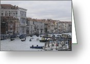 Gondolas Pyrography Greeting Cards - Gran Canal. Venice Greeting Card by Bernard Jaubert