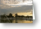 Gloaming Greeting Cards - Grand Bassin at Sunset Greeting Card by Maureen J Haldeman