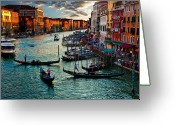 Gondola Photo Greeting Cards - Grand Canal Sunset Greeting Card by Harry Spitz