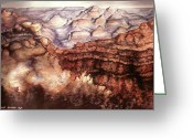National Drawings Greeting Cards - Grand Canyon Arizona Watercolor Landscape Greeting Card by Peter Art Prints Posters Gallery