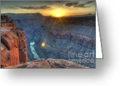 Light And Water Greeting Cards - Grand Canyon Creation Greeting Card by Bob Christopher