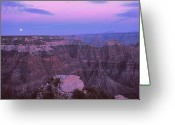 Moonrise Greeting Cards - Grand Canyon Moon Greeting Card by Alan Lenk
