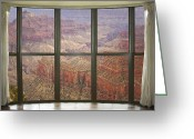 Reds Greeting Cards - Grand Canyon North Rim Bay Window View Greeting Card by James Bo Insogna