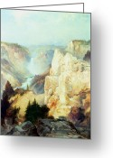Hudson River School Greeting Cards - Grand Canyon of the Yellowstone Park Greeting Card by Thomas Moran