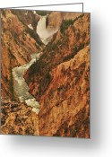 Yellowstone Landscape Art Greeting Cards - Grand Canyon Of The Yellowstone Vertical Panorama Greeting Card by Greg Norrell