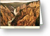 Yellowstone Landscape Art Greeting Cards - Grand Canyon Of The Yellowstone with caption Greeting Card by Greg Norrell