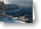 Snow Storm Greeting Cards - Grand Canyon Storm Greeting Card by Sandra Bronstein