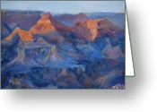 Western Pastels Greeting Cards - Grand Canyon Study Greeting Card by Billie Colson