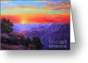 Beautiful Winter Greeting Cards - Grand Canyon Sunset Greeting Card by Gary Kim