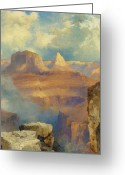 Gully Greeting Cards - Grand Canyon Greeting Card by Thomas Moran