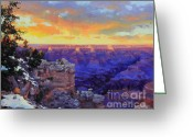 Beautiful Winter Greeting Cards - Grand Canyon Winter Sunset Greeting Card by Gary Kim