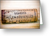 Vintage 1985 Greeting Cards - Grand Cru Classe Bordeaux Wine Cork Greeting Card by Frank Tschakert