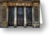Town Hall Greeting Cards - Grand Door - Leeds Town Hall Greeting Card by Yhun Suarez