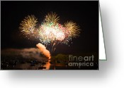 Finale Greeting Cards - Grand Finale of Fireworks Over The Lake Greeting Card by Sandi OReilly