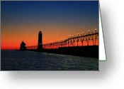 Beach Photographs Greeting Cards - Grand Haven light house Greeting Card by Robert Pearson