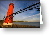 Dramatic Light Greeting Cards - Grand Haven Lighthouse Greeting Card by Adam Romanowicz