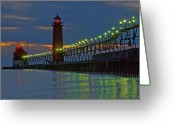Nightlight Greeting Cards - Grand Haven Pier at Night Greeting Card by Roger Swieringa