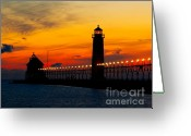 Silhouettes Greeting Cards - Grand Haven Sunset Greeting Card by Nick Zelinsky
