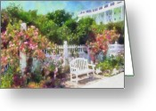 Michigan Greeting Cards - Grand Hotel Gardens Mackinac Island Michigan Greeting Card by Betsy Foster Breen