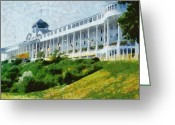 Veranda Greeting Cards - Grand Hotel Mackinac Island ll Greeting Card by Michelle Calkins