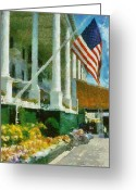 Veranda Greeting Cards - Grand Hotel Mackinac Island Greeting Card by Michelle Calkins