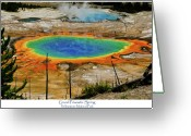 Yellowstone Landscape Art Greeting Cards - Grand Prismatic Spring Greeting Card by Greg Norrell