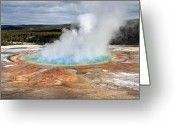 Hot Springs Greeting Cards - Grand Prismatic springs in Yellowstone National Park Greeting Card by Pierre Leclerc