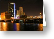 Lake Photographs Greeting Cards - Grand Rapids MI under the lights Greeting Card by Robert Pearson