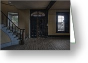 Bannister Greeting Cards - GRAND STAIRCASE and ENTRANCE to MEADE HOTEL - BANNACK GHOST TOWN Greeting Card by Daniel Hagerman