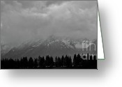 Storm Prints Greeting Cards - Grand Teton Range Winter Storm Greeting Card by Brent Parks
