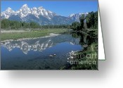 Grand Tetons National Park Greeting Cards - Grand Teton Reflection at Schwabacher Landing Greeting Card by Sandra Bronstein