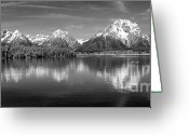 Grand Teton Panoramic Greeting Cards - Grand Teton Tranquility Greeting Card by Sandra Bronstein