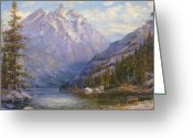 Deer Greeting Cards - Grand Tetons and Jenny Lake Tryptych Center Greeting Card by Lewis A Ramsey