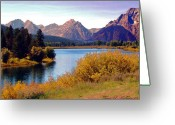 Terry Digital Art Greeting Cards - Grand Tetons and Snake River Greeting Card by Terry Anderson
