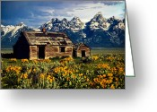 Grand Memories Greeting Cards - Grand Tetons Cabin Greeting Card by John Haldane