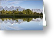 Grand Teton Panoramic Greeting Cards - Grand Tetons Panoramic Greeting Card by Dustin K Ryan