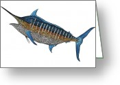 Grander Greeting Cards - Grander Marlin Greeting Card by Carol Lynne