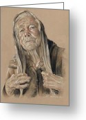 Of; Ole Mejlvang Hedeager Greeting Cards - Grandma Greeting Card by Ole Hedeager Mejlvang