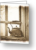 Cabin Window Greeting Cards - Grandmas Kettle Greeting Card by Steve McKinzie