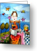 Stewart Greeting Cards - Grandmas Story Time Greeting Card by Lucia Stewart