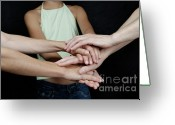 12-13 Years Greeting Cards - Grandmother daughter and granddaughter touching hands Greeting Card by Sami Sarkis