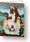 African Animals Painting Greeting Cards - Grandmother Greeting Card by Laura James