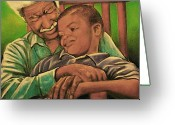 Realistic Pastels Greeting Cards - Grandpa And Me Greeting Card by Curtis James